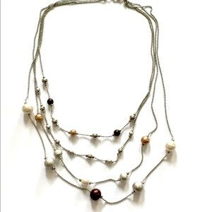 Multi strand necklace silver
